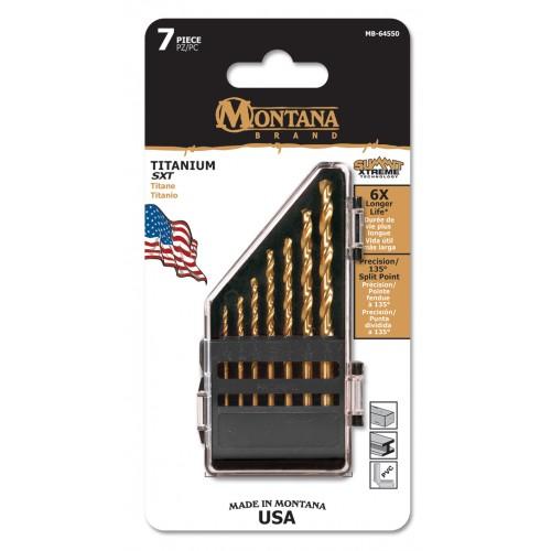 7 Piece Vest Pack Titanium Round Shank Drill Bits