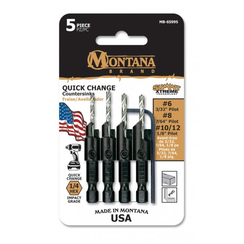 5 Piece Power Groove Countersink Drill Set